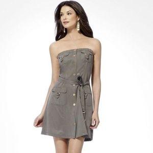 Cache Strapless Cargo Dress Tencel Olive Green 2